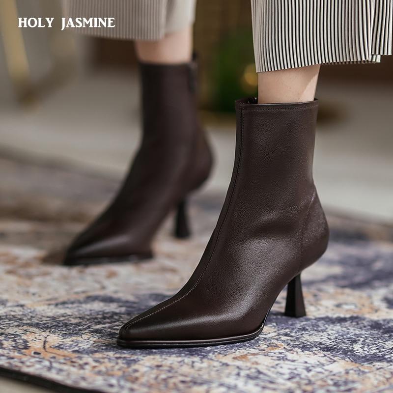 أحذية خريفي جديدة للسيدات ذات سحّاب جانبي موديل 2021 أحذية عالية الكعب من الجلد الطبيعي أنيقة أحذية برقصة عالية للنساء للحفلات