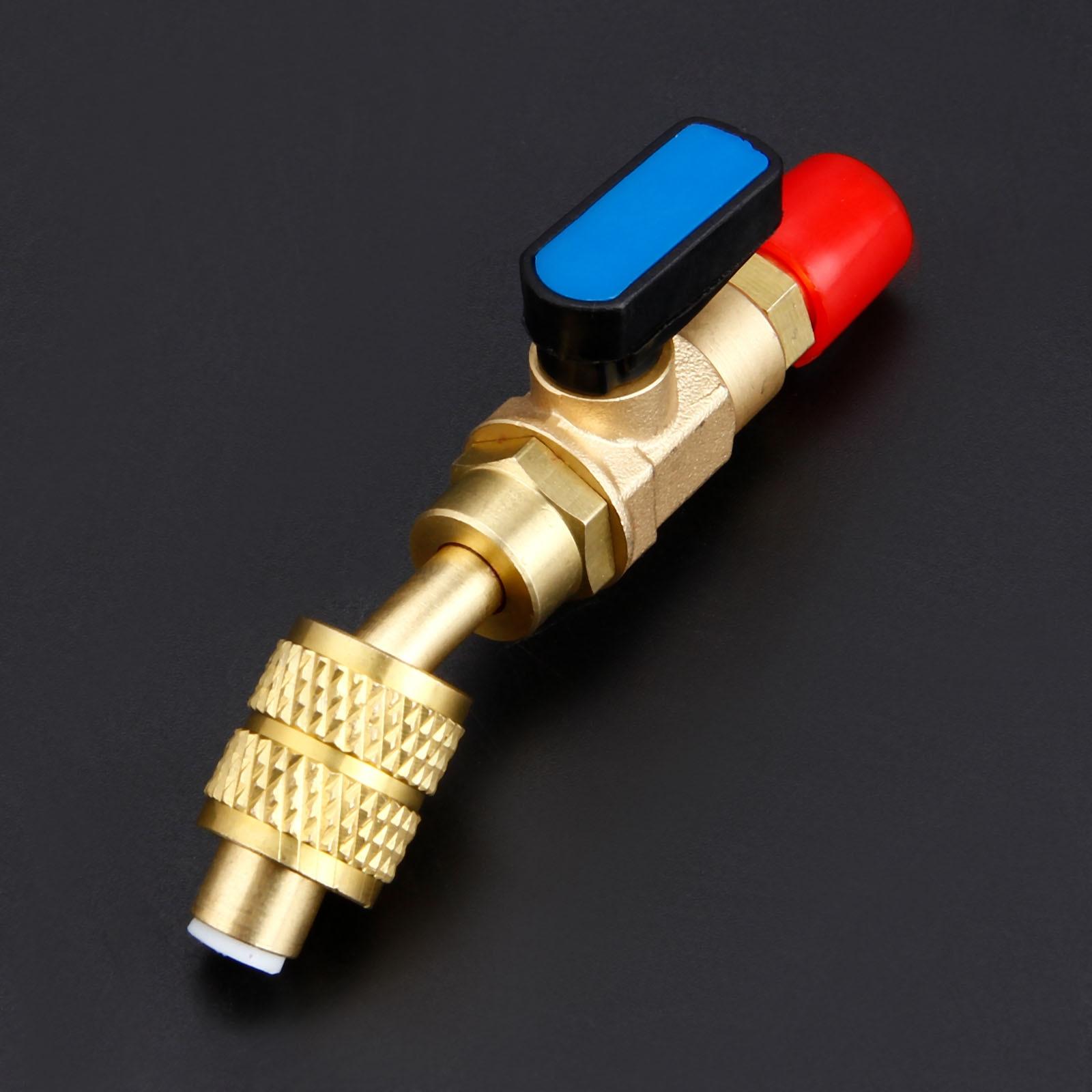 """Válvula de cierre Manual en ángulo R22 R12, adaptador SAE macho y hembra de 1/4 """"con válvula de bola para carga de mangueras, funcionamiento de refrigerante, 1 unidad"""