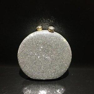 2021 new simple diamond-studded dinner bag in stock meeting diamond bag evening dress crystal bag chain female round bag