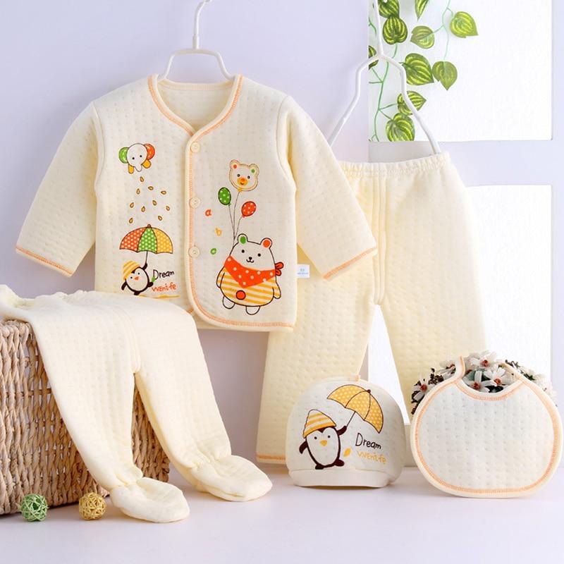 BOBORA 0-3M conjunto de ropa para bebés recién nacidos niños niñas pijamas suaves oso estampado camisa pantalones Baberos sombreros ropa de algodón 5 uds