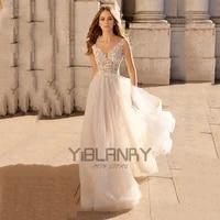 vintage wedding dresses organza tulle with a line v neck sleeveless bride gowns beach backless plus size vestido de novia