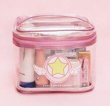 Card Captor Cardcaptor SAKURA Pink PVC Cosmetic Makeup Bag Portable Travel Organizer Beauty Case Toiletry Make Up Bags Pouch