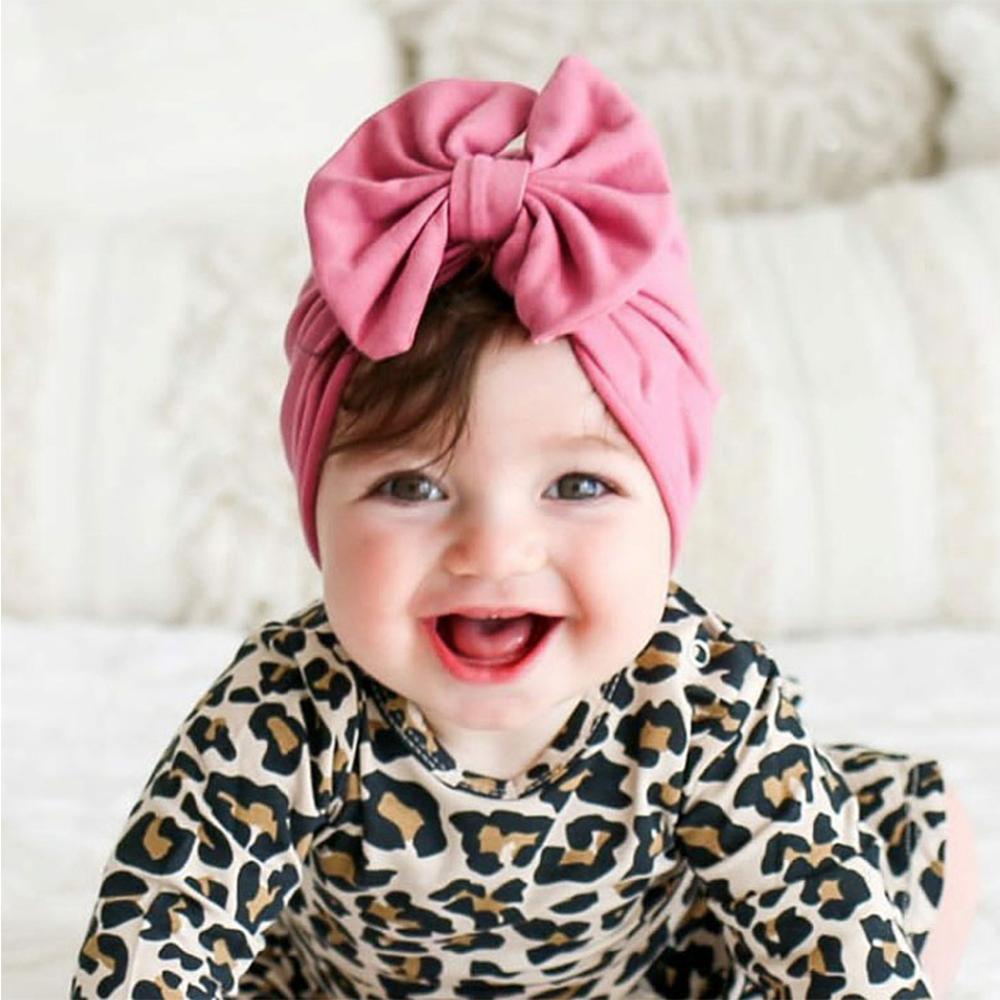 Yuxic 0-3Month recién nacido bebé turbante de algodón suave Bowknot bebé niñas sombrero de primavera niño Beanie bebé accesorios para el pelo