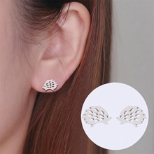 Lovely Hedgehog Stud Earrings For Girls Cute Fashion Animal Ear Earrings Jewelry Stainless Steel Bla