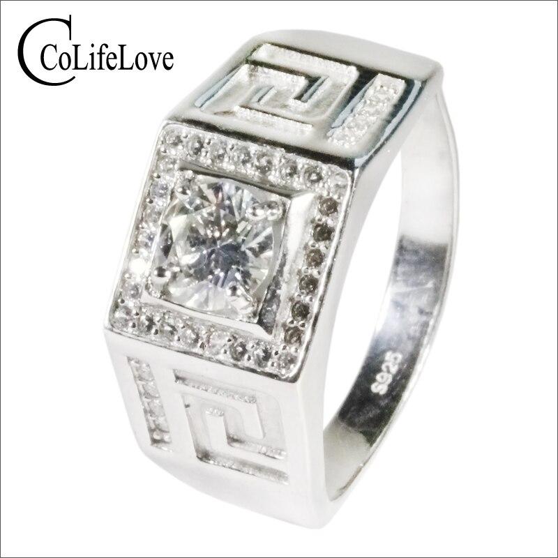 CoLife-خاتم مويسانيتي من الفضة الإسترليني عيار 925 للرجال ، مجوهرات فاخرة ، 2 قيراط ، مويسانيتي حقيقي
