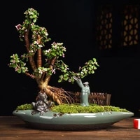 simple flower pot creative ceramic chinese style art indoor bonsai flower pot green plant potted large asparagus succulent pot