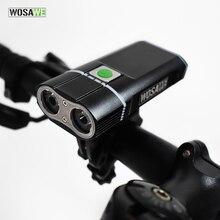 WOSAWE 2400 Lumens lumière de vélo avec 18650 Batteries intégrées USB Rechargeable lumière de vélo 2-XML lampe de poche LED 5 modes