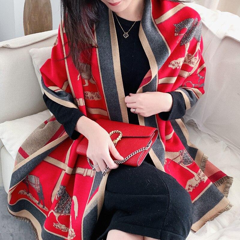 Bufanda caliente para invierno de Cachemira para mujer Pashmina Foulard chales Wraps para señoras de lujo Cadena de impresión pañuelos de Bandana 2020 de moda