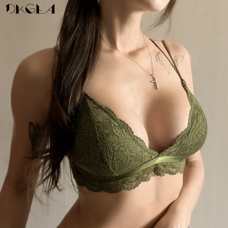 Fashion Green Sexy Bra Triangle Cup Brassiere Wire Free Women Lingerie Lace Seamless Bras Thin Cotton Underwear Embroider Black