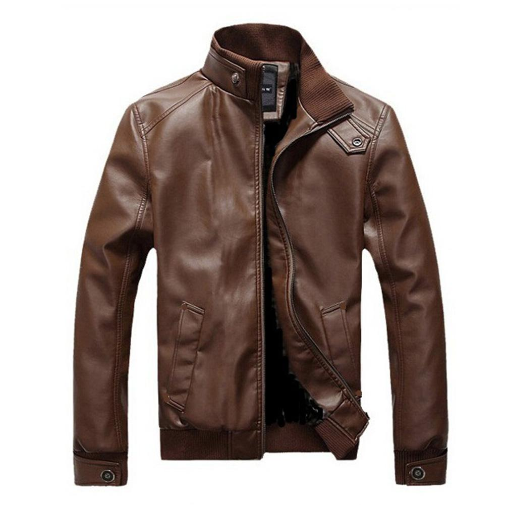 Autumn Winter Men Jacket Solid Color Motorcycle Faux Leather Coat Stand Collar Ribbed Hem Slim PU Jacket Overcoat Male Tops