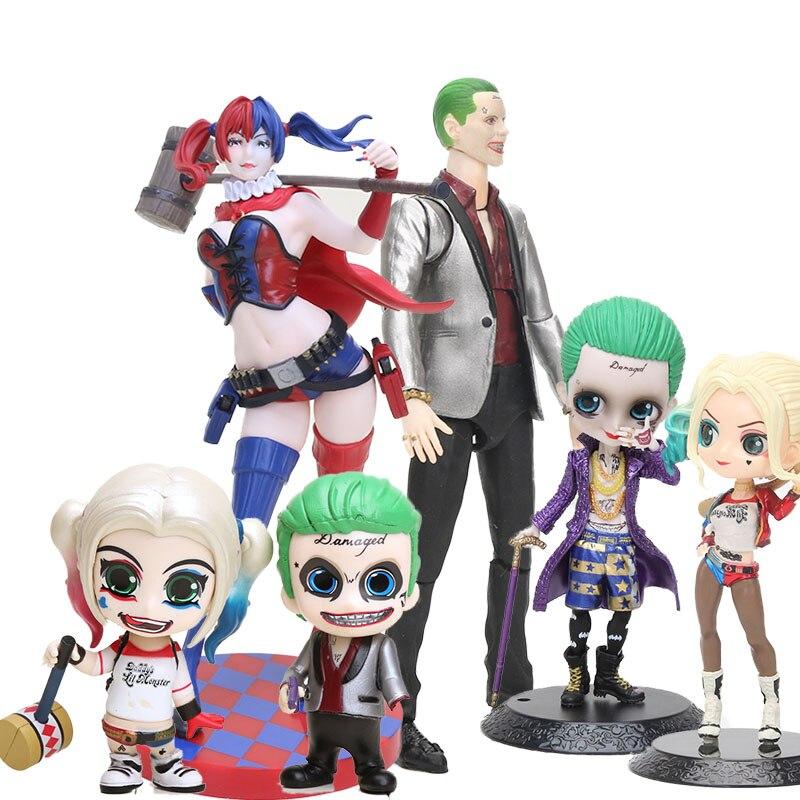 Q Posket SHF escuadrón suicida el Joker Harley Quinn Mini figura de PVC Super villano payaso chica joker modelo coleccionable de juguete