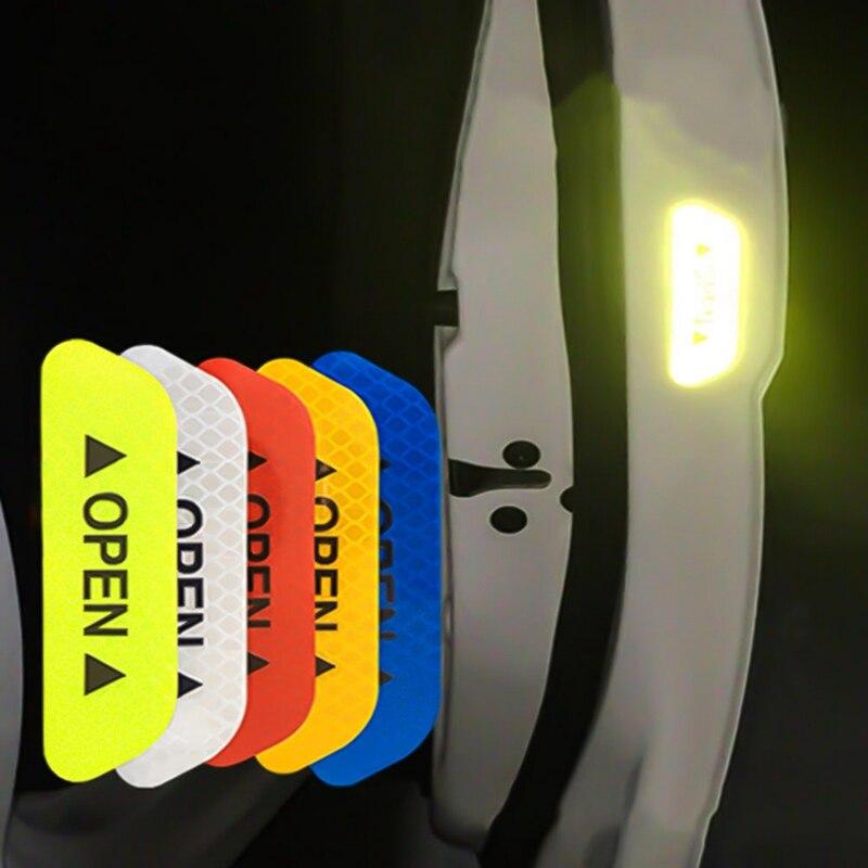 Pegatinas universales de seguridad para puerta de coche, 4 unidades por juego, marca de advertencia, cinta reflectante abierta, pegatina para casco de motocicleta y bicicleta