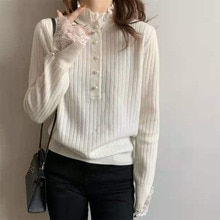 2021 Autumn Women Clothes Stand Lace Stitching Collar Butterfly Sleeve Knitted Sweater Korean Fashio