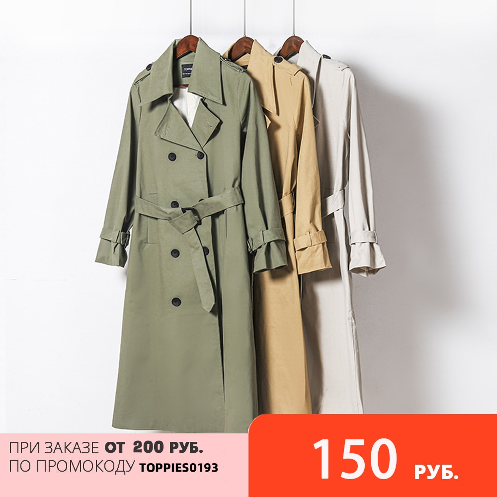 Toppies 2021 Spring Long Trench Coat Women Double Breasted Slim Trench Coat Female Outwear Fashion Windbreaker