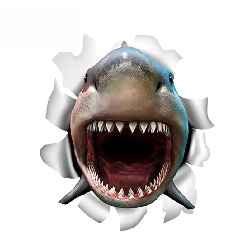 SZWL персональная Акула Виниловая Наклейка 3D Акула рваная металлическая наклейка рыба автомобильные наклейки водонепроницаемые автомобиль...