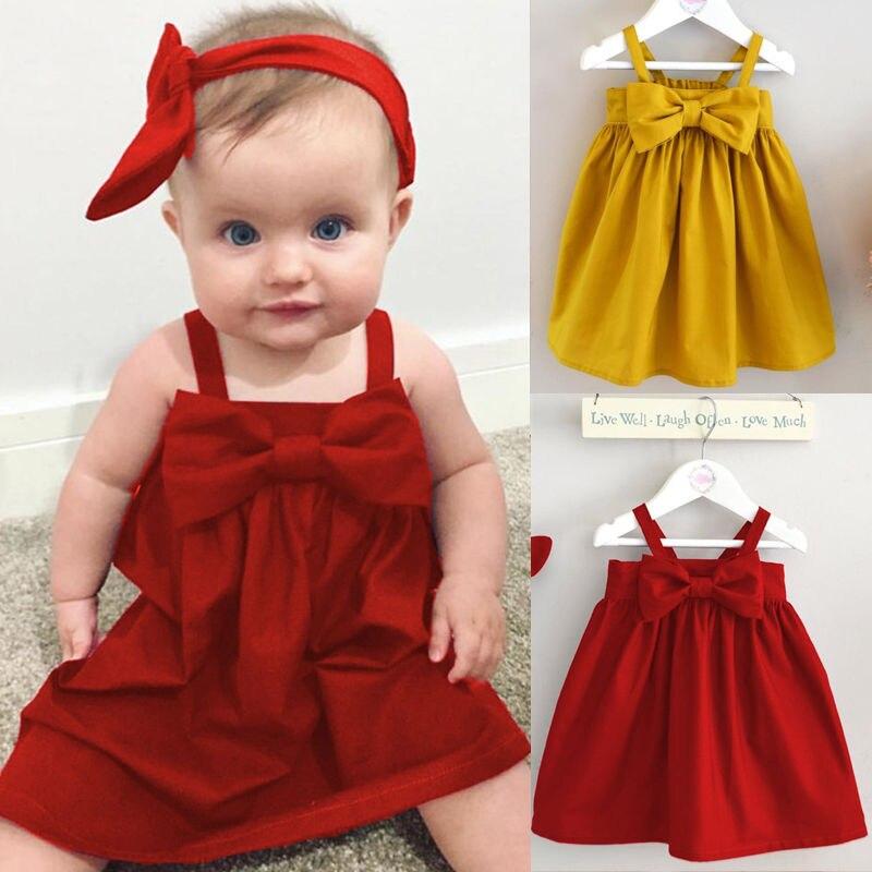 Летний сарафан для маленьких девочек, короткое платье-жилет с бантом, Детские хлопковые повседневные платья, милая Одежда для девочек, крас... сарафан для девочек