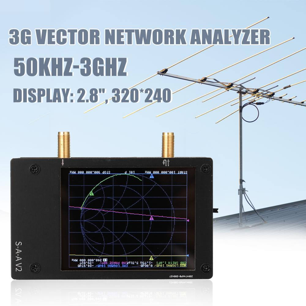 Analizador de antena portátil S-A-A-2 NanoVNA V2 de onda corta 3G, analizador de red vectorial HF VHF UHF con carcasa