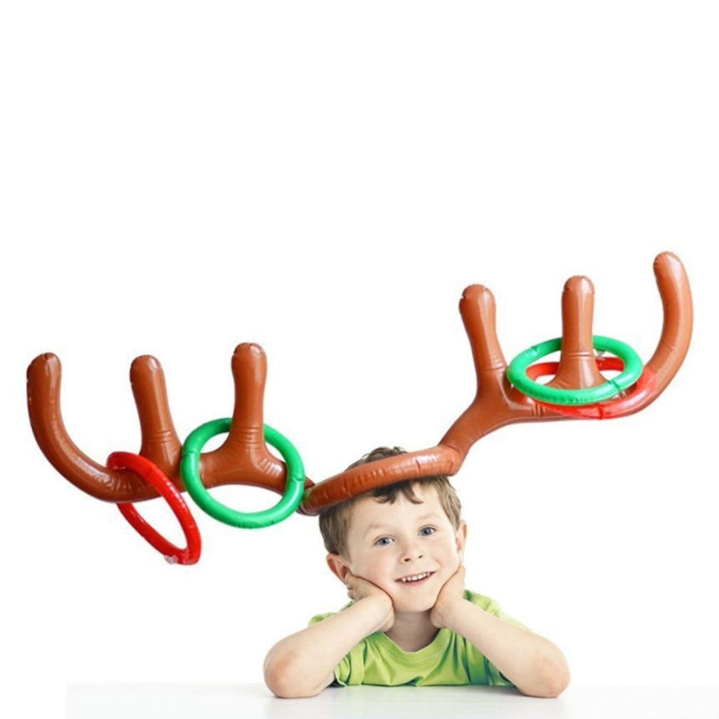 2020 Inflatable Santa Funny Reindeer Antler Deer Head Hat Ring Toss Christmas Holiday Party Game Sup