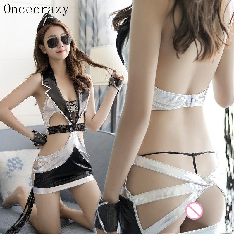 Oncecrazy role playing Sexy lingerie feminino imitação de couro paixão saia low-cut sexy uniforme da polícia terno vendas quentes