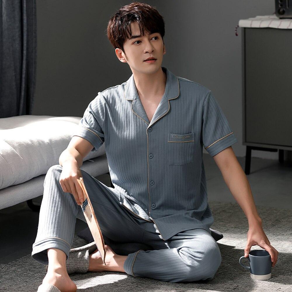 100% 25 хлопок мужские пижамы повседневные отложной воротник короткие рукав пуговицы пижама резинка талия длинные брюки лето мужские плед пижама комплект