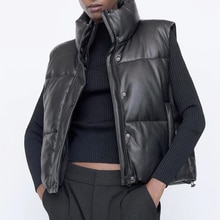 2021 women Black Warm Faux Leather Vest Coat Casual Zipper Sleeveless Jacket Female Short Cotton Out