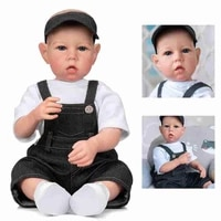 20 inch silicone boy 50cm cute rebirth dolls set with overalls cowboy hat birthday gifts collectors collections