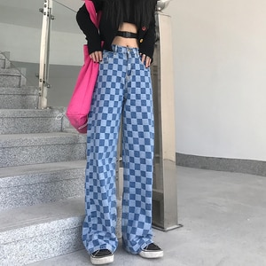 Jogger Plaid Ladies Jeans Summer Universal Fashion Plaid Pattern Loose Casual Blue Wide Leg Jeans Men'S Overalls Streetwear