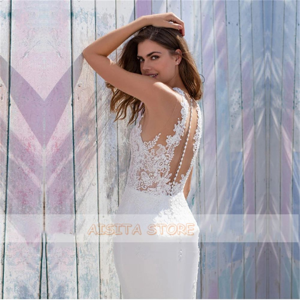 Elegant Mermaid Wedding Dresses 2021 Sexy V Neck Button Back Lace Appliques Sleeveless Chiffon Court Train Vestido De Novia