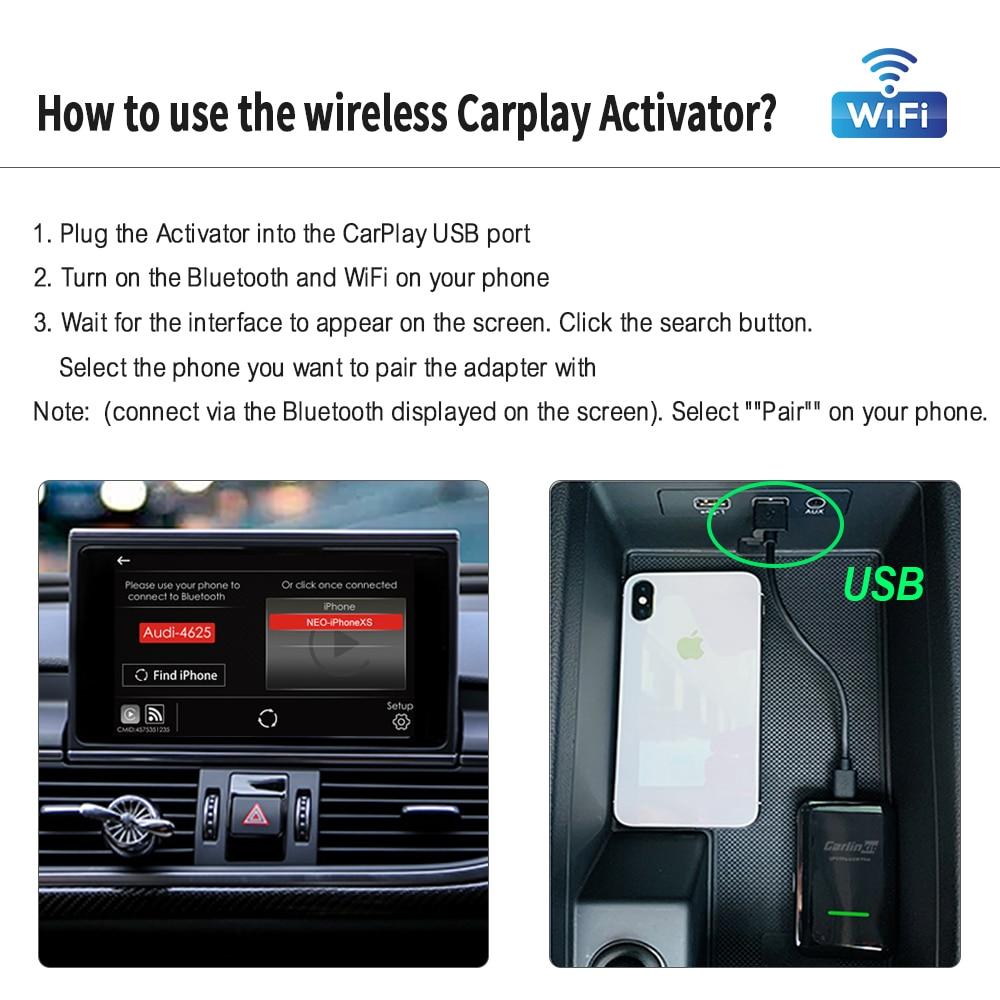 Carlinkit 2.0 Apple CarPlay Wireless Carplay Activator for Audi Porsche VW Volvo Auto Connect Adapte Carplay Wireless IOS 14 Map