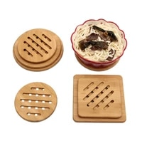 tea coffee cup pad placemats decor natural bamboo wood coasters durable heat resistant square round drink mat teapot