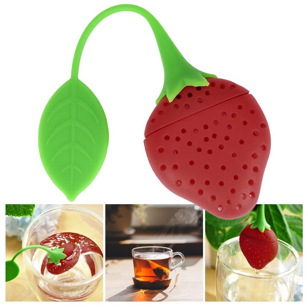 Tea Infuser Cute in Strawberry Shape Pure Soft Silicone loose-leaf Tea Infuser Filter Diffuser Fun Cartoon Tea Accessories