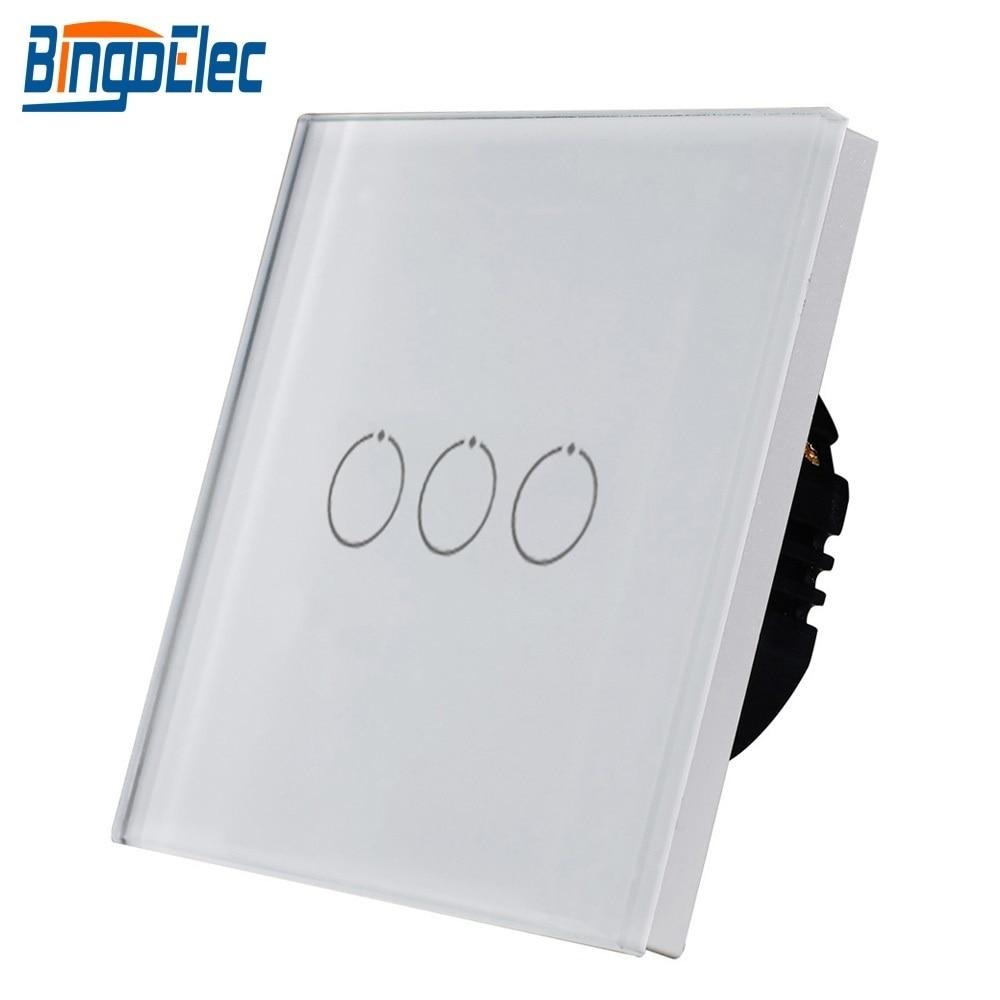 Interruptor de luz Bingoelec 3 Gang 1 Way, Interruptor táctil, Panel de cristal, interruptor de pared, Sensor táctil, pantalla, interruptor de escalera