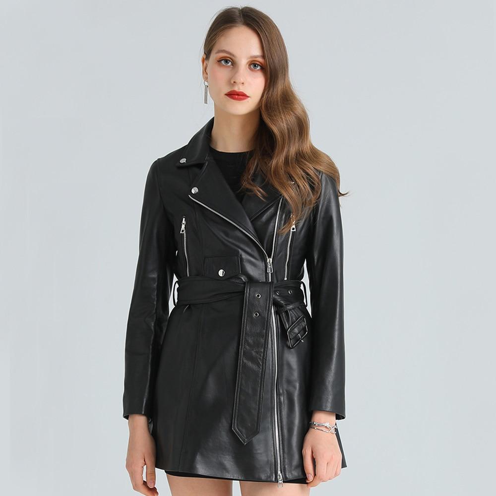 معطف خريفي 2021 من جلد الغنم ، جاكيت من الجلد الطبيعي 100% ، ملابس ربيعية نحيفة ، رسمية ، سيدة ، ملابس خارجية من الجلد الأصلي