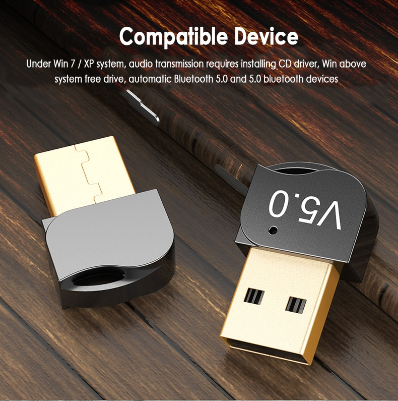 Wireless USB Bluetooth 5.0 Adapter Transmitter Music Receiver Dongle Audio Adapter For Computer PC Laptop Tablet Support Win8/10