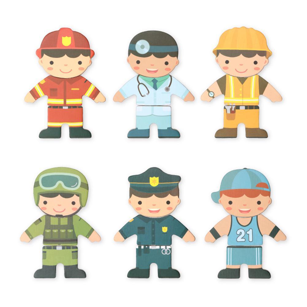Ropa de cambiante de madera para bebé, bloques magnéticos, figuras de dibujos animados para niños, juegos de rompecabezas para vestir, juguetes educativos