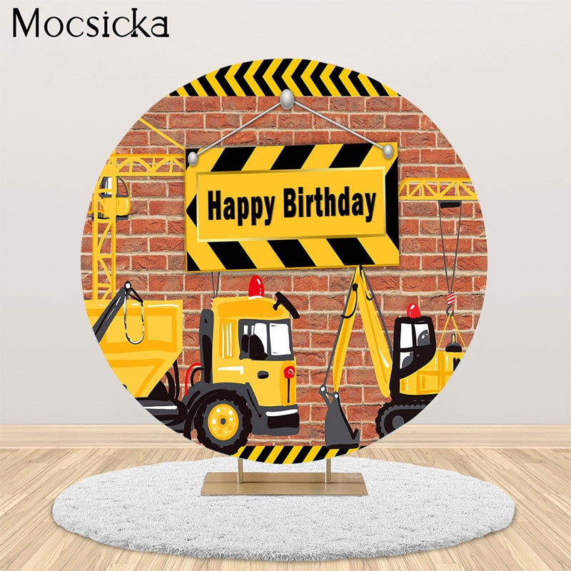photography background soul train photo booth props party decorations disco birthday banner photo background tv dance background Mocsicka Excavator Dump Truck Construction Round Background Birthday Party Decoration Banner Photography Background Photo Props
