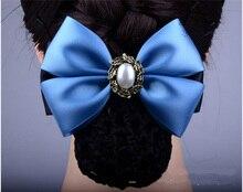 Fashion Handmade Office Lady Bow Pearl Tie Barrette Hair Clip Cover Bowknot Net Bun Snood Hair Accestory