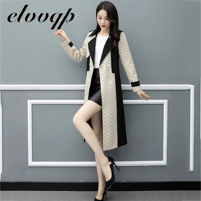2020 Autumn New Elegant Women Trench Coat England Style Windbreaker Belt Lady Fashion Trend Double-b