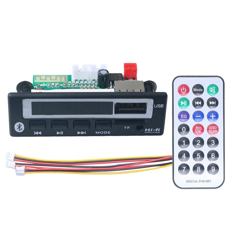 FFYY-Bluetooth5.0 Mp3 Wma Wav dekoder kurulu 5V 12V kablosuz ses modülü renkli ekran için Usb Tf Fm radyo araba aksesuarları