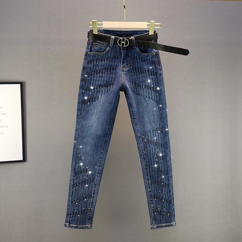 جينز نسائي ربيعي أوروبي أزرق داكن مثير ومرصع بالألماس موضة 2021 سراويل جينز نسائية جينز مرنة ذات خصر مرتفع