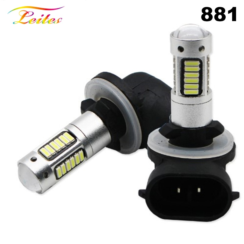 2pcs High Power DRL Lamps 6500K White 30SMD 4014 881 880 H27 LED Replacement Bulbs For Car Fog Light