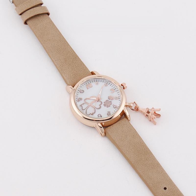 MREURIO Women's Watch Luxury Quartz Lucky Four-Leaf Clover Pattern Eiffel Tower Pendant Watch for Women Bracelets Wristwatch enlarge
