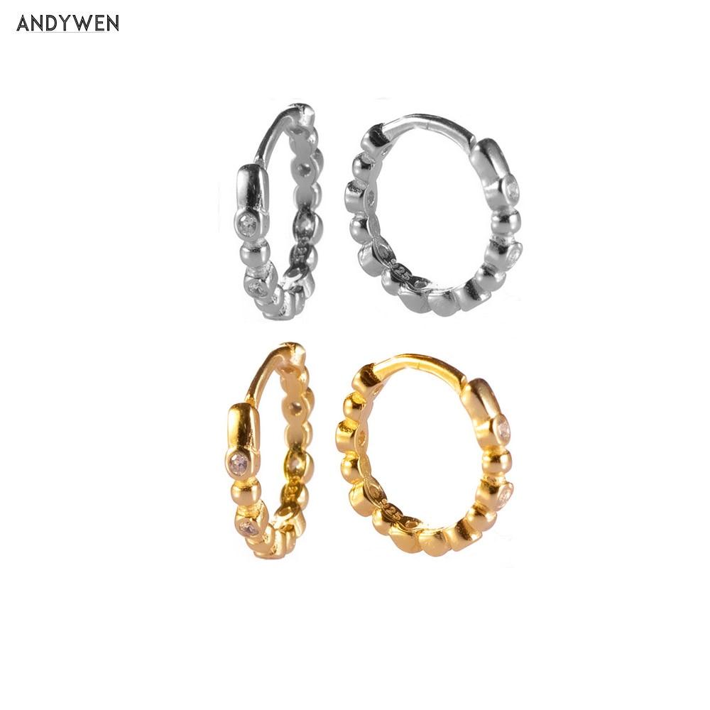 Andywen 925 prata esterlina 7.7mm contas huggies brinco aros mini círculo pequeno redondo de luxo feminino cristal cz zircão jóias