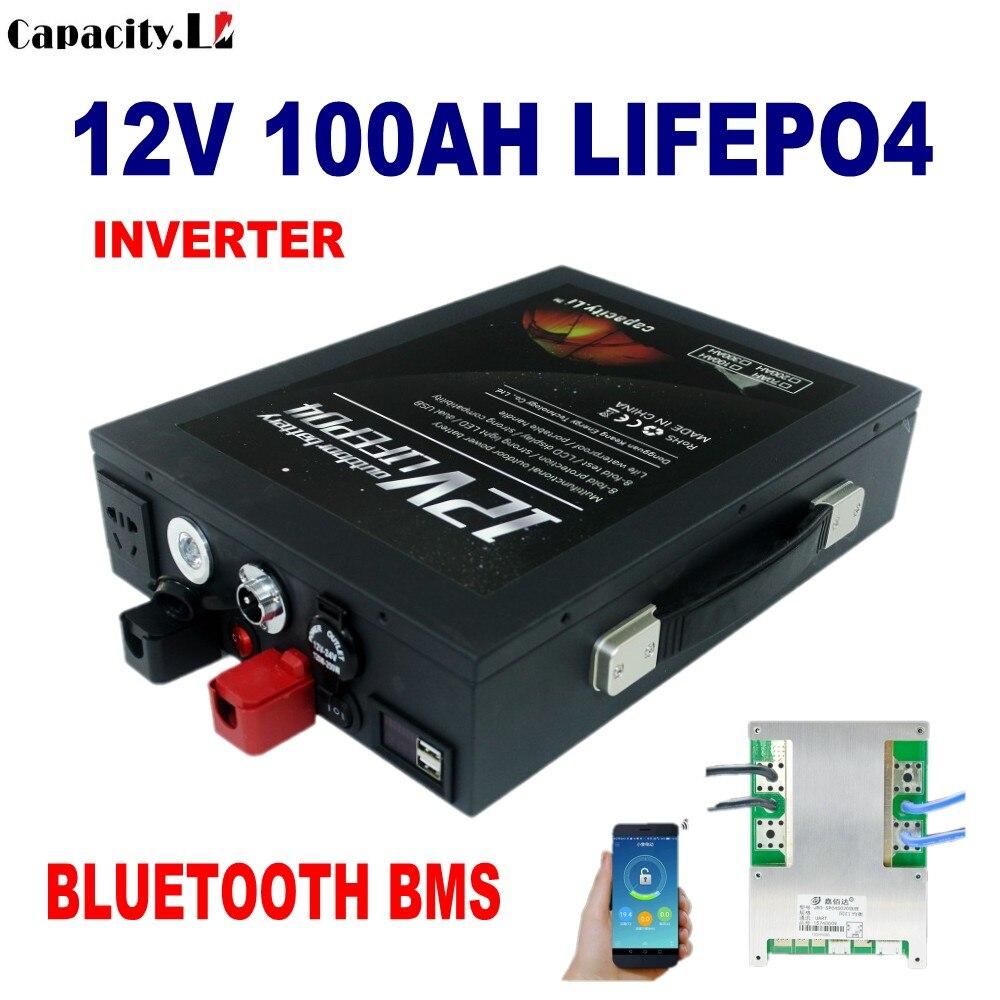 12 فولت lifepo4 بطارية حزمة 55ah 100 أمبير ليثيوم الحديد الفوسفات العاكس 220 فولت AC350W مع Bms بلوتوث للطاقة الشمسية وقارب المحرك
