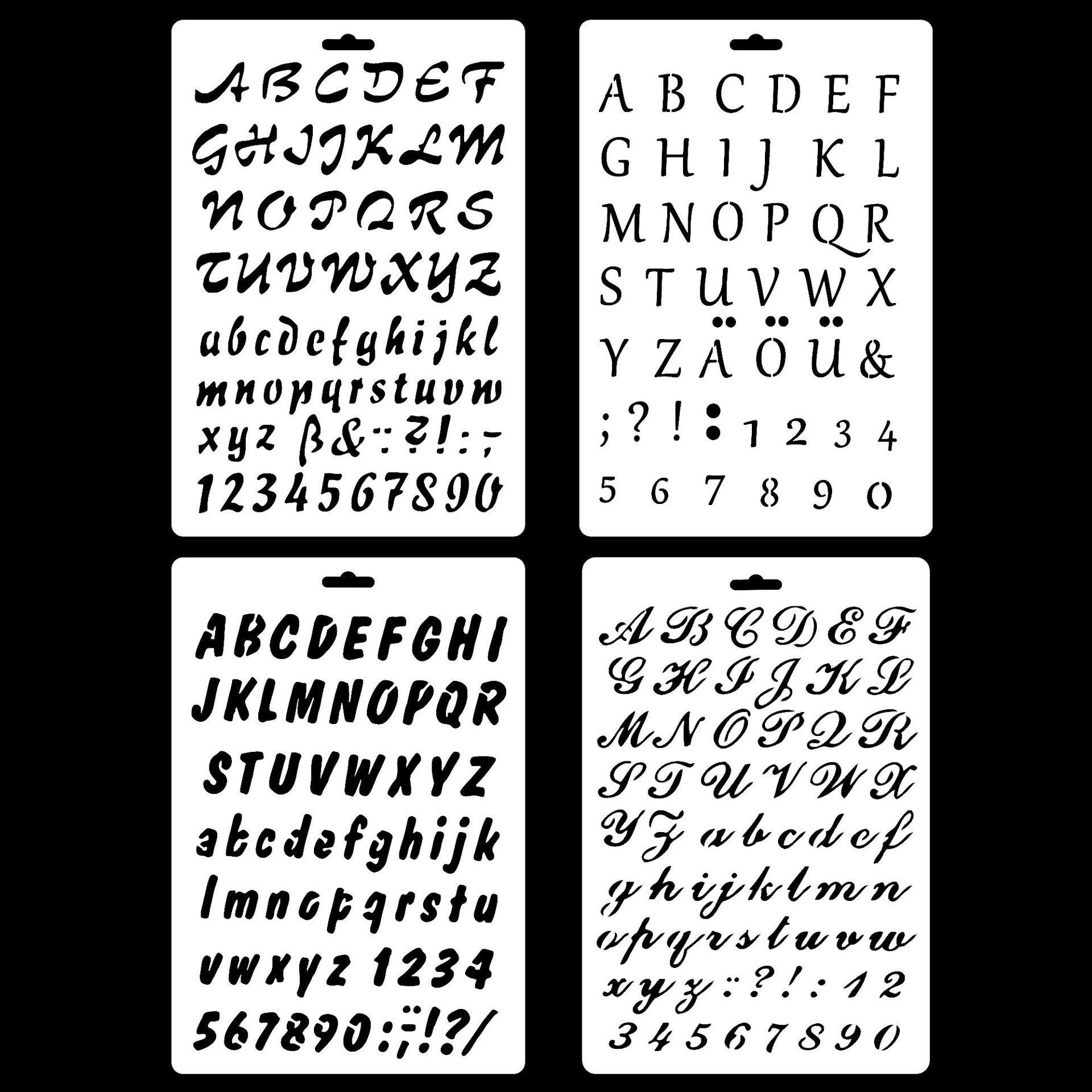 New 4Pcs/Set A4 Alphabet English Letters DIY Layering Stencils Painting Scrapbook Coloring Embossing Album Decorative Template