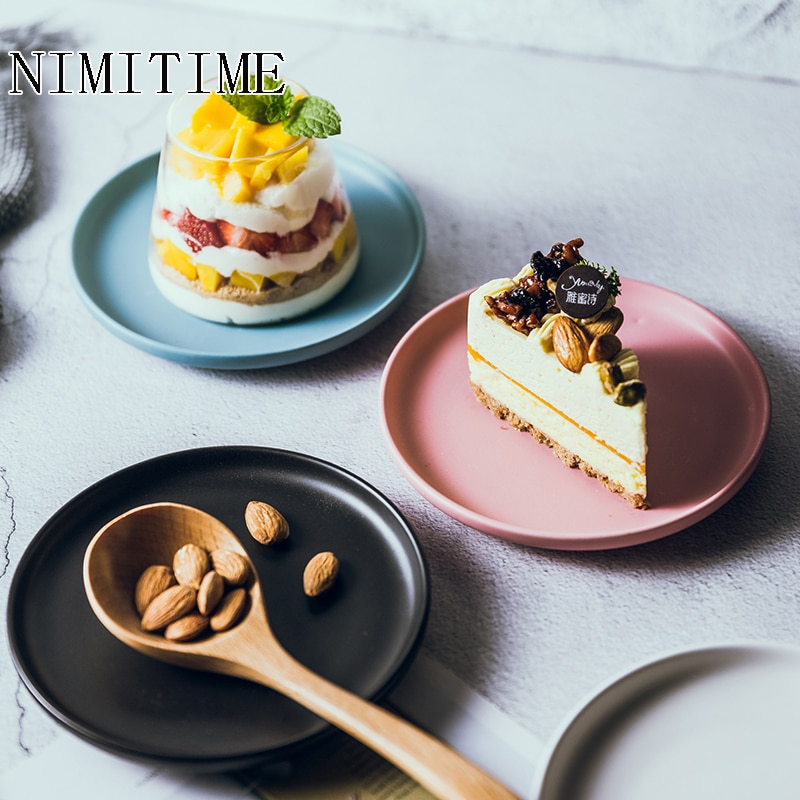 Plato de cerámica mate de estilo nórdico plato de aperitivos plato de pastel vajilla de hogar plato de dieta plato redondo
