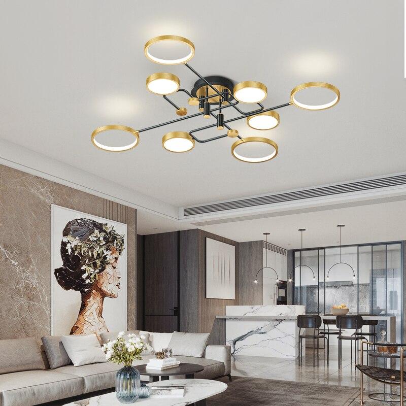Современные светодиодные люстры, потолочные светильники черного и золотого цвета для гостиной, спальни, столовой, кухни