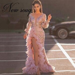 Long Sleeve Side Split Ruffles Evening Gowns 2020 Dubai Aibye Mermaid Prom Dresses V Neck vestido de novia Party Celebrity Dress