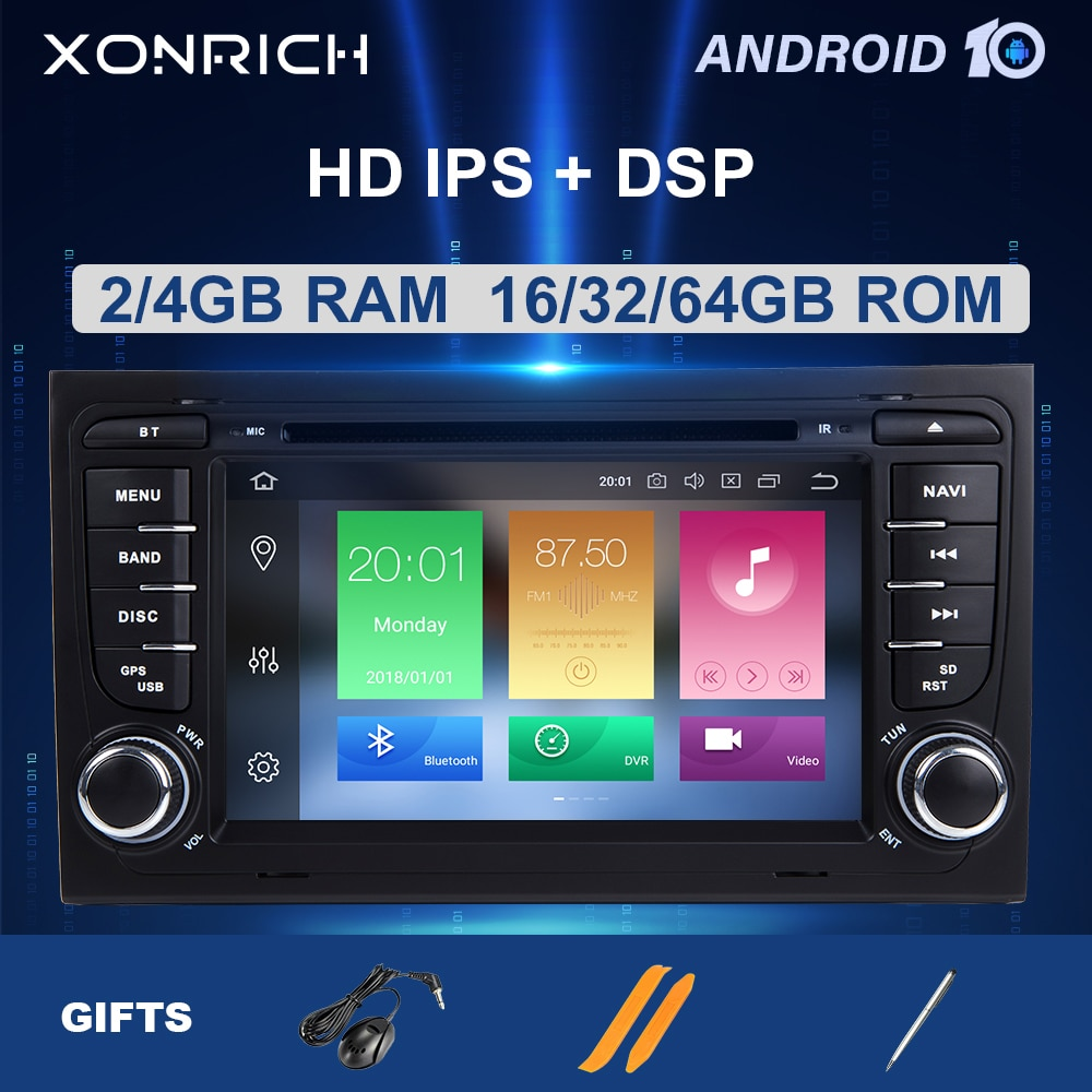 Xonrich 2 الدين الروبوت 10 جهاز تشغيل أقراص دي في دي بالسيارة لاعب لأودي A4 B8 B6 B7 S4 8E 8H 8F B9 مقعد Exeo 2002-2008 مذياع GPS والملاحة 2 + 32 GB
