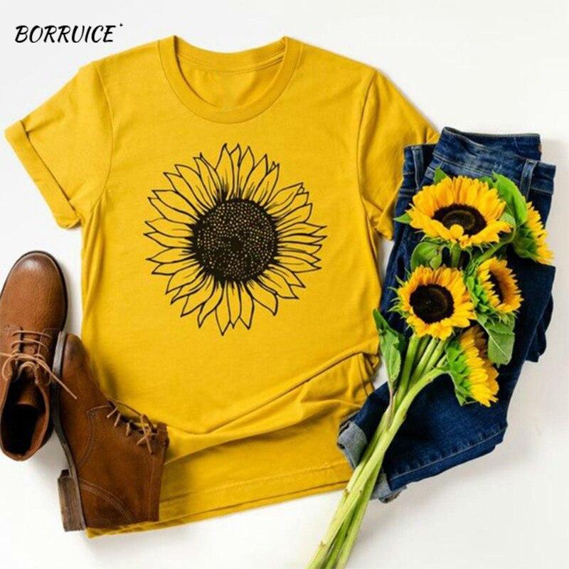 ¡Verano 2020! Camiseta de algodón con estampado de girasoles para mujer, camiseta Harajuku, camiseta informal holgada de talla grande, ropa para mujer